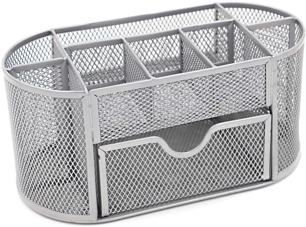 EasyPAG Office Mesh Desk Tidy Multifunctional Stationery Storage Desktop Organiser Pen Holder with Drawer,Silver Silver - iBuy Africa