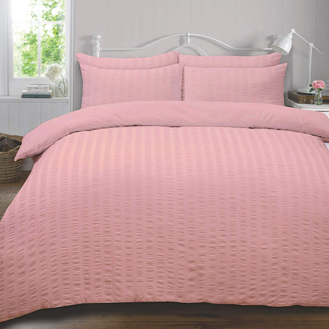 Highams Seersucker Duvet Cover with Pillow Case Bedding Set, Blush Pink - Double - iBuy Africa