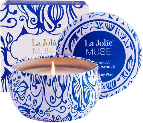 La Jolíe Muse Citronella Candle, Scented Candle Soy Wax Travel Tin Indoor and Outdoor 45Hours - iBuy Africa