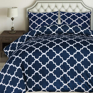 Utopia Bedding Printed Duvet Cover Set - Brushed Microfibre Duvet Cover with 2 Pillowcases (Navy Blue, King) - iBuy Africa