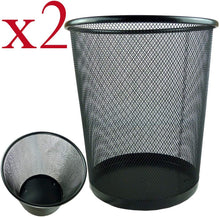 Load image into Gallery viewer, Zuvo Lightweight and Sturdy Circular Mesh Waste Bin, Metal Black, 19 x 24.5 x 26 cm (Pack of 2) - iBuy Africa
