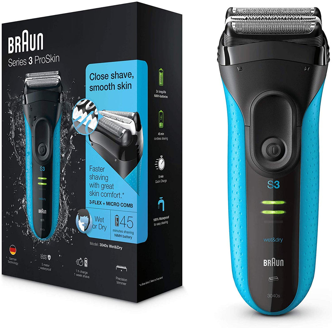 Braun Series 3 ProSkin 3040s Electric Shaver, Wet and Dry Electric Razor for Men with Pop Up Precision Trimmer, Rechargeable and Cordless Shaver, Black/Blue - iBuy Africa