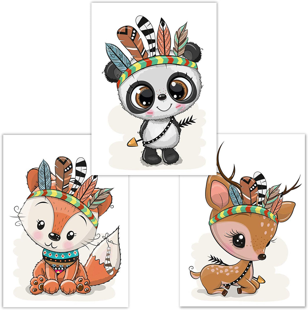 Little Fairy Tales Woodland Animals Wall Art Set of 3 DINA4, Nursery Decor, Kids Bedroom Accessories, Boys, Girls (Raccoon, Deer, Badger) Fox, Panda, Deer - iBuy Africa