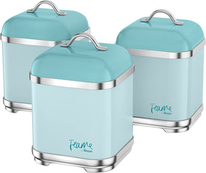 Swan Retro Kitchen Storage Canisters, Iron, Green, Set of 3 Peacock - iBuy Africa