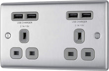 Load image into Gallery viewer, BG Electrical SBS22U3G Screwed Flatplate Brushed Steel Double Switched 13A Power Socket With USB Charging - 2X USB Sockets (3.1A) Grey Insert - iBuy Africa