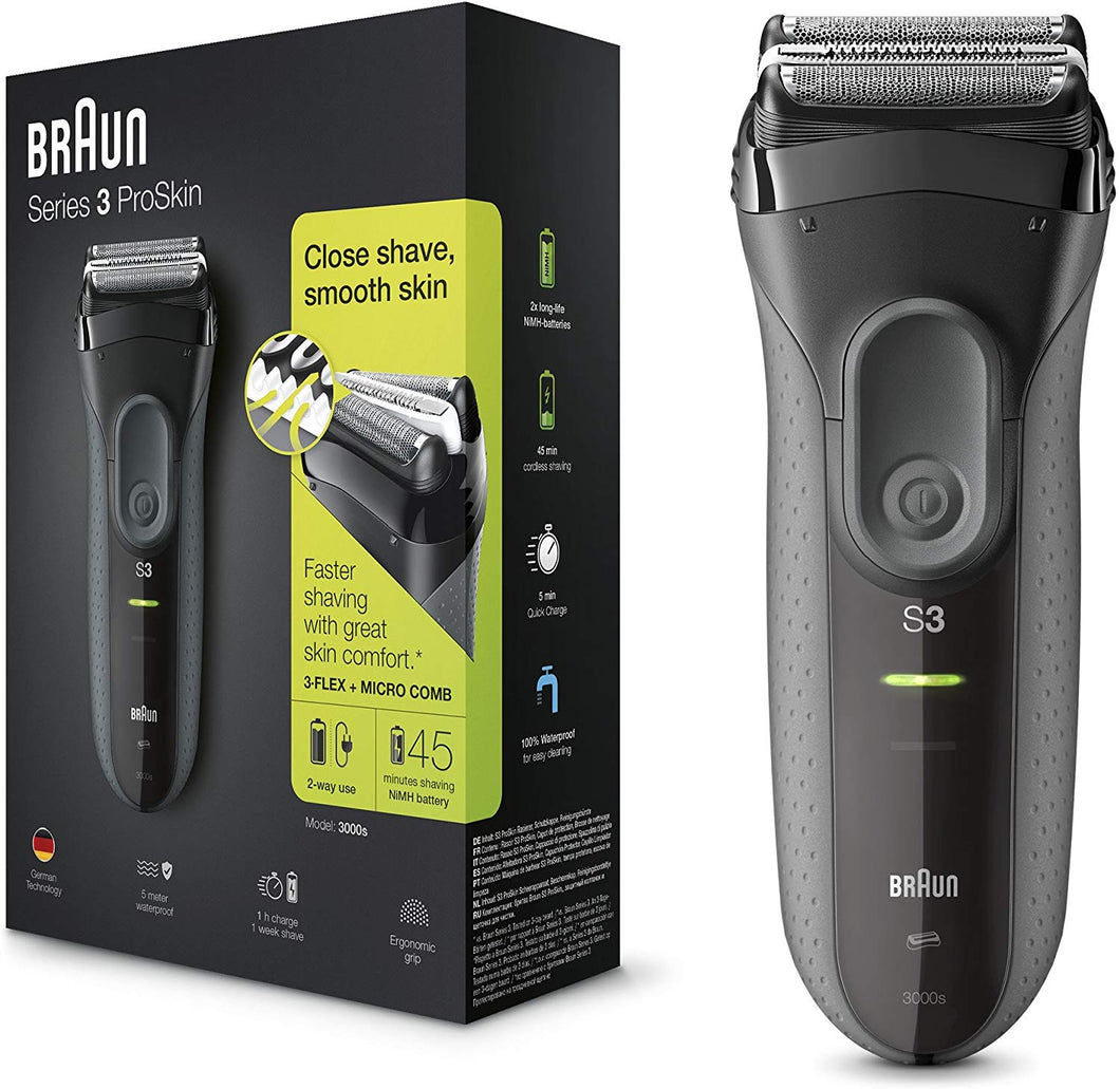 Braun Series 3 ProSkin 3000s Electric Shaver Rechargeable and Cordless Electric Razor for Men, Black Series 3 3000s : with ergonomic grip and precision trimmer - iBuy Africa