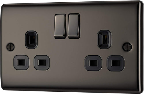 BG Electrical Double Switched Power Socket, Black Nickel, 13 Amp - iBuy Africa