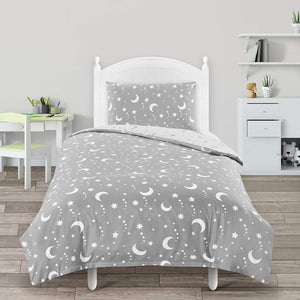 Utopia Bedding Kids Bedding Set - Stars & Moon Reversible Duvet Cover Set - Microfibre Duvet Cover & 1 Pillowcase - (Single, Grey & White) - iBuy Africa