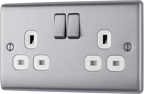 BG Electrical Double Switched Power Socket, Brushed Steel, 13 Amp - iBuy Africa