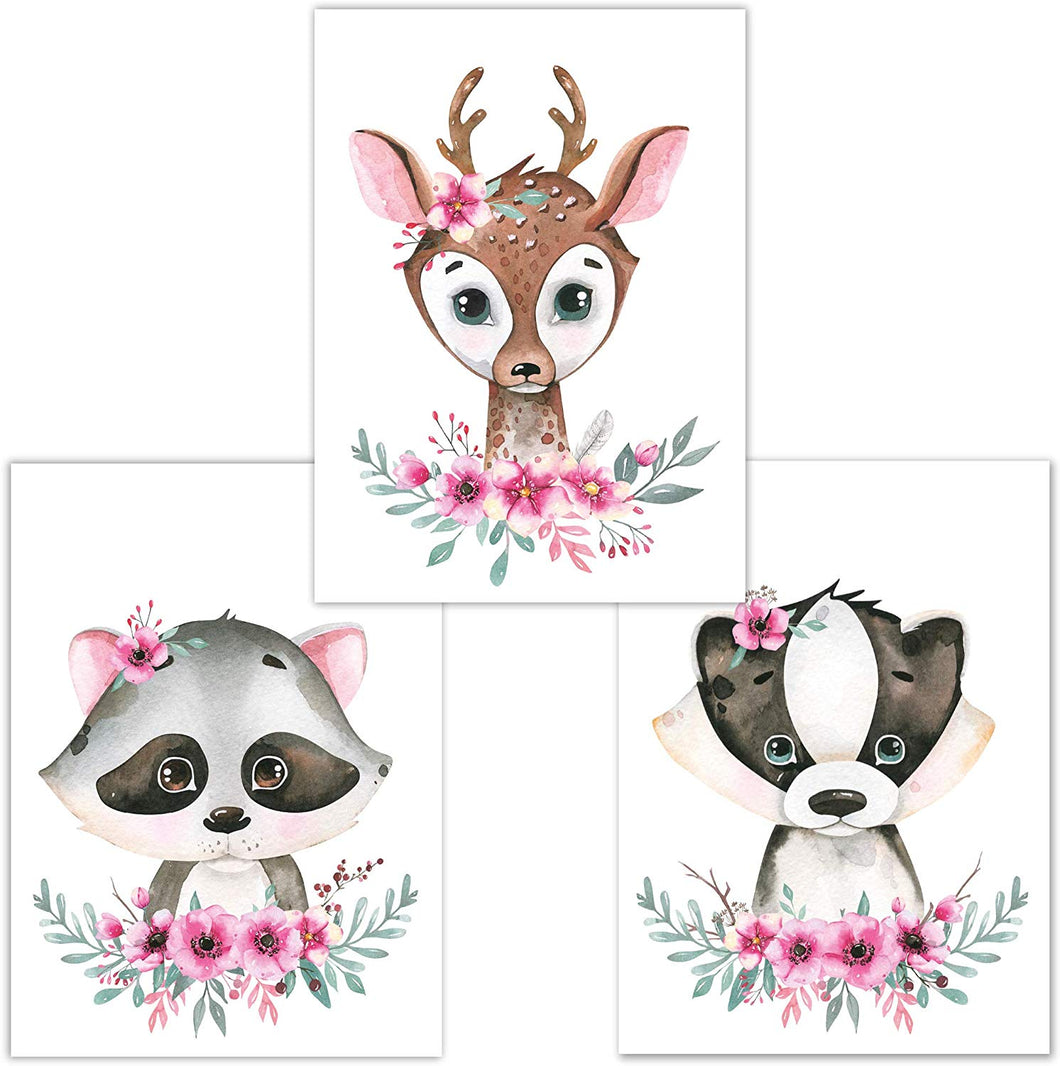 Little Fairy Tales Woodland Animals Wall Art Set of 3 DINA4, Nursery Decor, Kids Bedroom Accessories, Boys, Girls (Raccoon, Deer, Badger) Raccoon, Deer, Badger - iBuy Africa