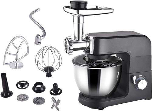 Aifeel Die-cast Stand Mixer - 1500W 2 in 1 Multi Functional Kitchen Machine with 5.5L Food Grade Bowl, Food Grinder, Full Set Maker Accessories - 8 Speed Settings and LED Display - Black Aifeel Die-cast Stand Mixer - 1500w 2 in 1(black) - iBuy Africa