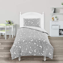 Load image into Gallery viewer, Utopia Bedding Kids Bedding Set - Stars & Moon Reversible Duvet Cover Set - Microfibre Duvet Cover & 1 Pillowcase - (Single, Grey & White) - iBuy Africa