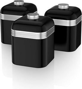 Swan Retro Kitchen Storage Canisters, Iron, Green, Set of 3 Black - iBuy Africa