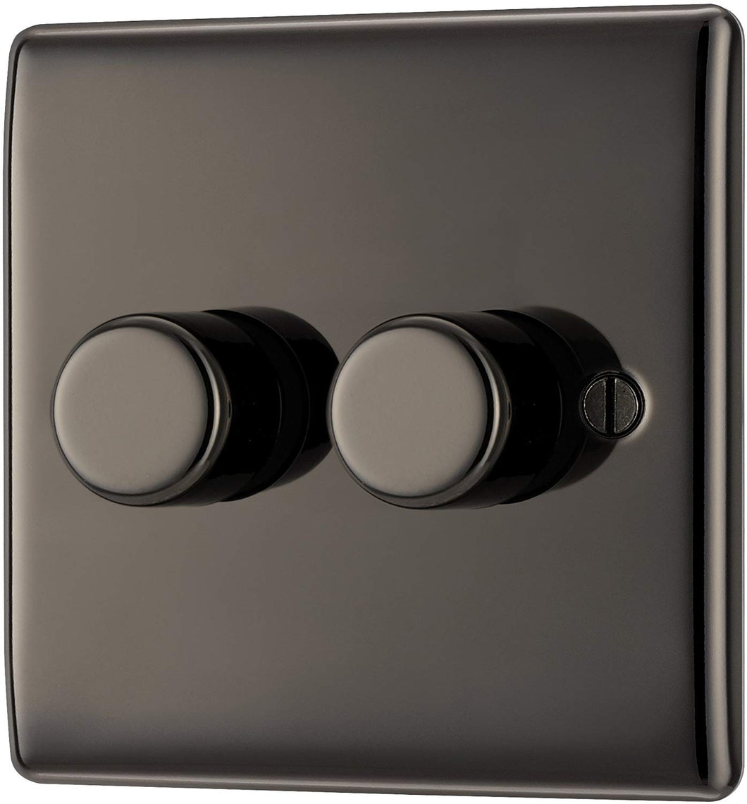 BG Electrical Double Dimmer Light Switch, Black Nickel, 2-Way, 400 Watts - iBuy Africa