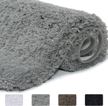 Load image into Gallery viewer, Lifewit Water Absorbent Bath Mat Non-slip Antibacterial Rubber Back, Grey Microfiber Bathroom Rug, 40 × 60 × 4cm - iBuy Africa