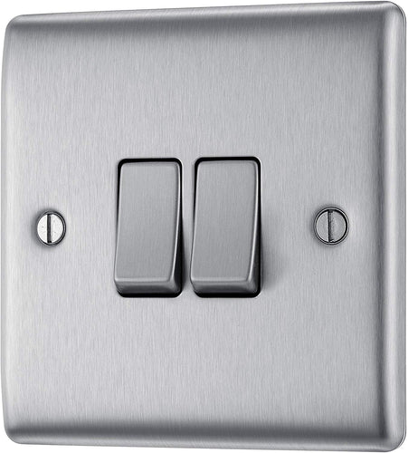 BG Electrical Double Light Switch, Brushed Steel, 2-Way, 10AX - iBuy Africa
