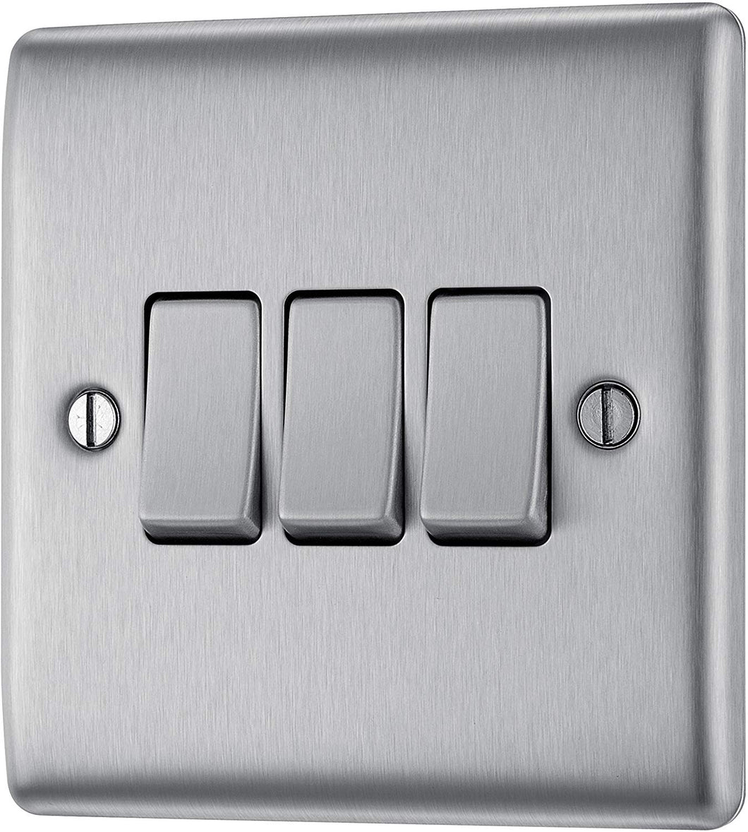 BG Electrical Triple Light Switch, Brushed Steel, 2-Way, 10AX - iBuy Africa
