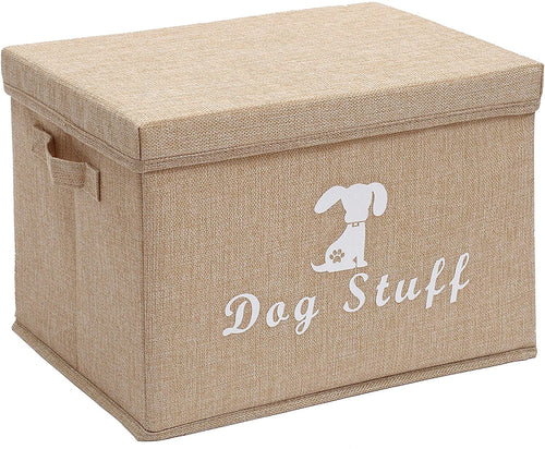 Morezi Large Dog Toys Storage Box 38x26x24cm Canvas Storage Basket Bin Organizer with Lid - Perfect Collapsible Bin for Organizing Dog Cat Toys and Accessories - Grey - iBuy Africa