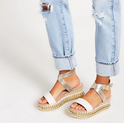 Beige studded wedge flatform sandals - iBuy Africa