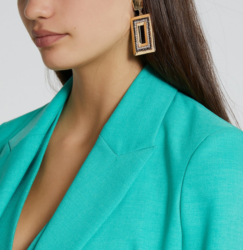 Gold colour and black rectangle earrings - iBuy Africa
