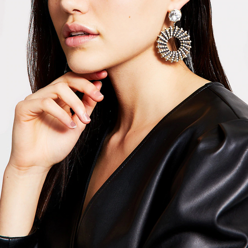 Black raffia wrapped circle drop earrings - iBuy Africa