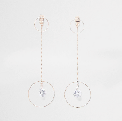 Rose gold colour front and back drop earrings - iBuy Africa