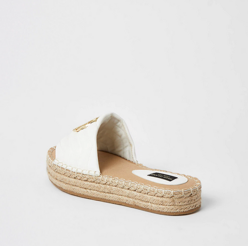 White quilted RI wide fit espadrille sandals - iBuy Africa