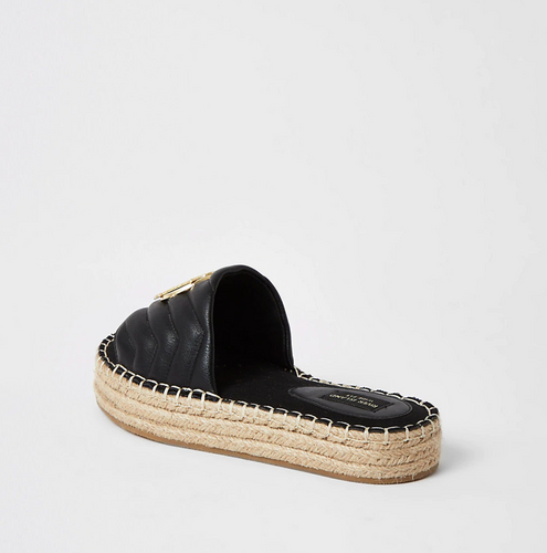 Black quilted RI wide fit espadrille sandals - iBuy Africa