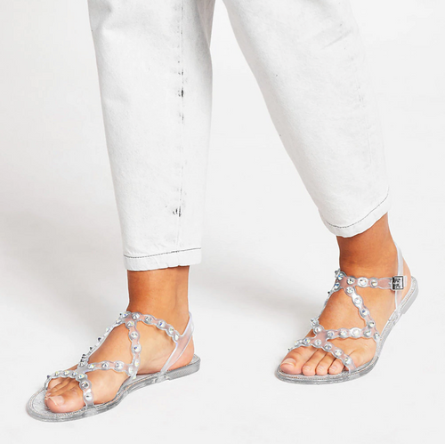 Clear diamante jelly sandals - iBuy Africa