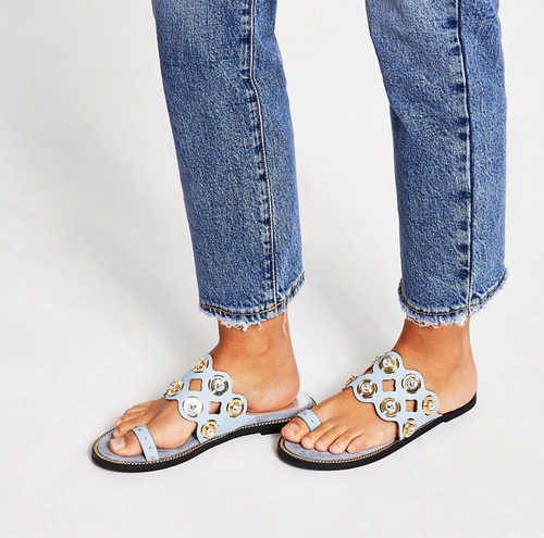 Blue cutout embellished toe loops sandals - iBuy Africa