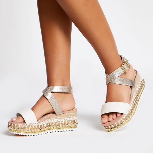 Beige studded flatform wedge wide fit sandals - iBuy Africa