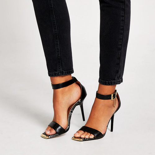 Black barely there high heeled sandals - iBuy Africa
