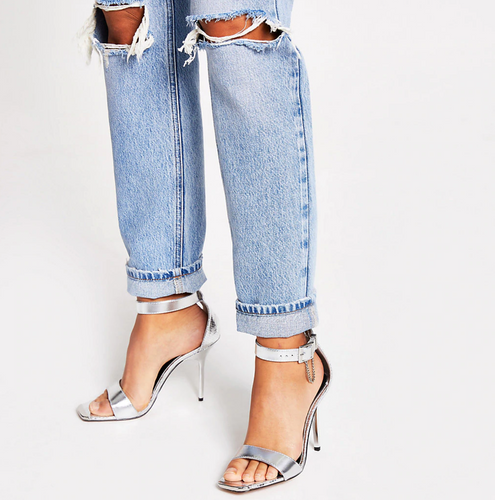Silver metallic barely there heeled sandals - iBuy Africa