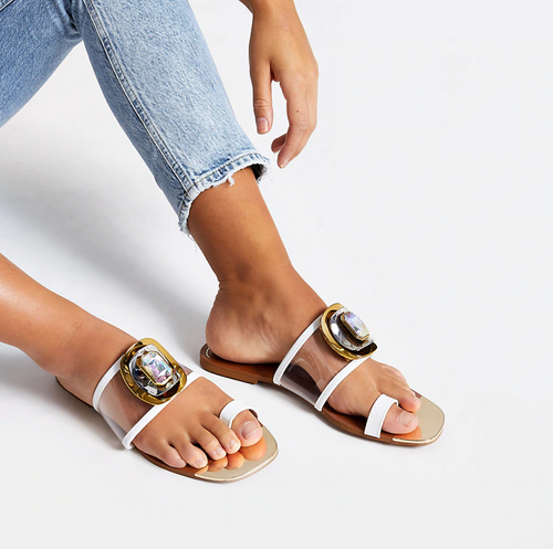 White jewel embellished toe loops sandals - iBuy Africa