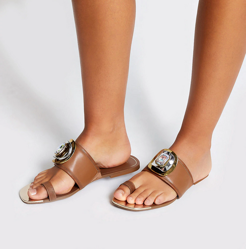 Brown jewel embellished toe loops sandals - iBuy Africa