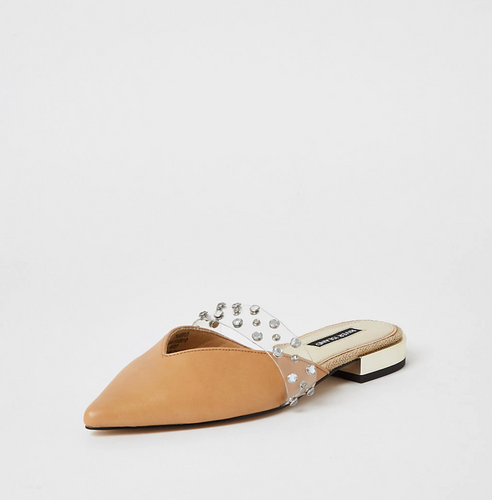 Beige diamante pointed toe shoes - iBuy Africa