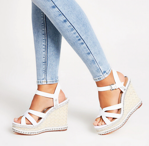 White embellish strappy wide fit wedge sandal - iBuy Africa