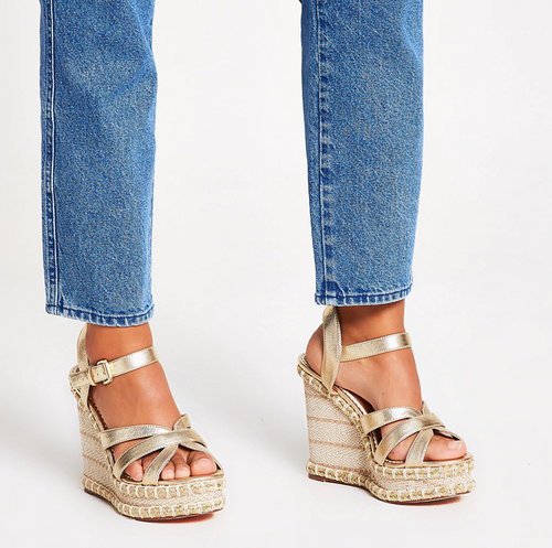 Gold metallic strappy wide fit wedge sandals - iBuy Africa