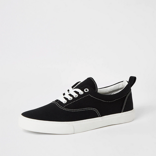 Black stitch detail lace-up plimsoll trainers - iBuy Africa