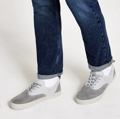 Grey blocked lace-up trainers - iBuy Africa