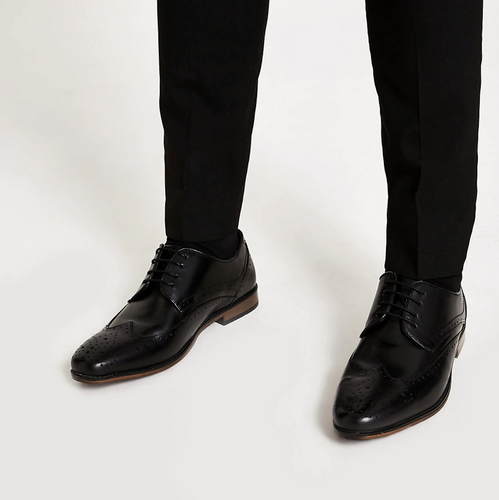 Black leather lace-up brogues - iBuy Africa