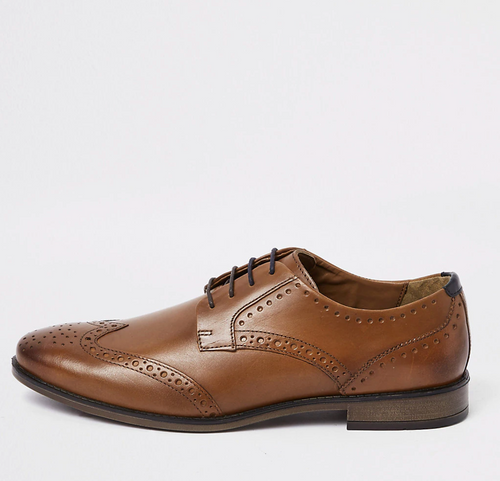 Tan leather lace-up brogues - iBuy Africa