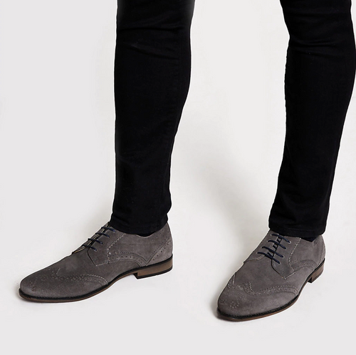 Grey suede lace-up brogues - iBuy Africa