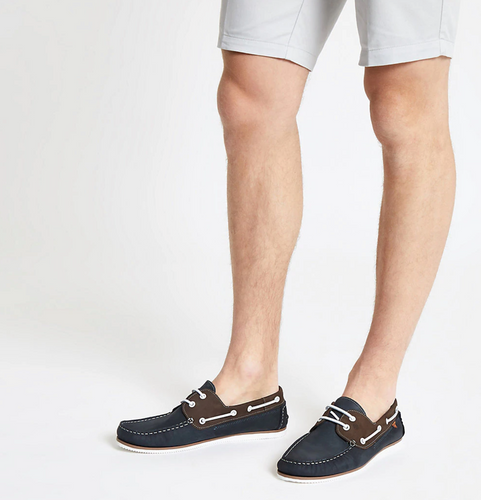Navy leather mixed boat shoes - iBuy Africa