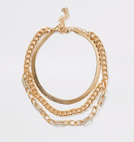 Gold colour embellished layered necklace - iBuy Africa