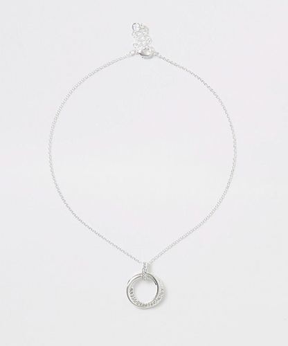 Silver colour diamante interlink necklace - iBuy Africa