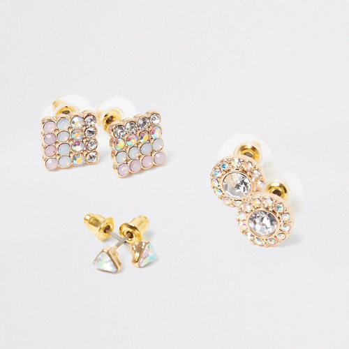 Pink pastel gem stud earrings mulitpack - iBuy Africa