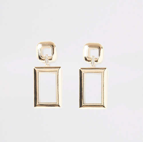 Gold colour rectangle diamante earrings - iBuy Africa