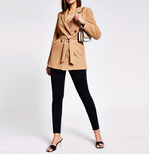 Beige double breasted belted blazer - iBuy Africa