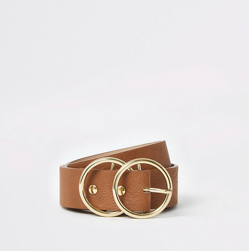 Brown leather double ring buckle belt - iBuy Africa